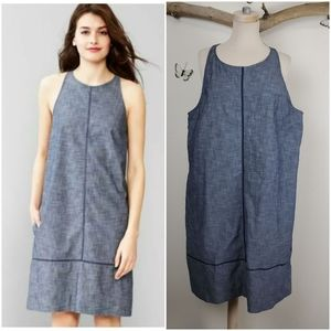 Gap chambray shift pocketed dress